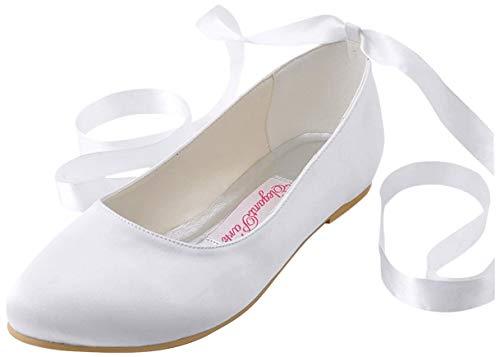 ElegantPark EP11105 Wedding Flats Shoes Women Wedding Shoes for Bride Flats Bridal Shoes Flats Comfortable Satin Closed Toe Ribbon Tie Ballet Flats White US 9