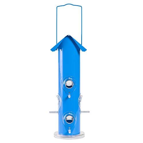 Opus [Perky-Pet] Mangeoire oiseau Tube en métal bleu avec crochet de suspension , 6 perchoirs, et toit de protection - Capacité max. 450g de graines de tournesol ou mélange de graines /391