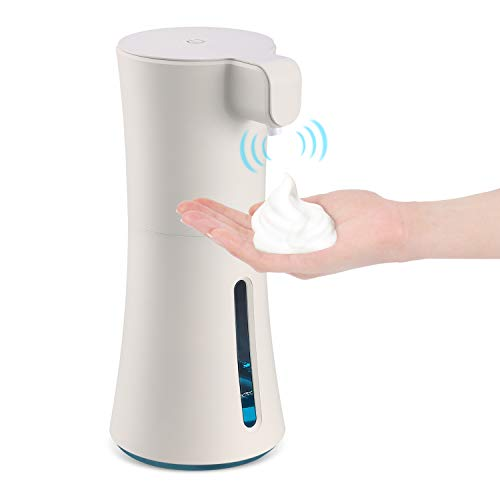 Automatic Foaming Hand Sanitizer Dispenser, 15oz./450ml Touchless Smart Foaming Soap Dispenser, HITRENDS Infrared Motion Sensor Soap Dispenser, Long Standby for Bathroom Kitchen Office (Beige)