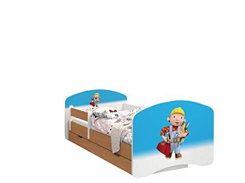 Happy Babies - LIT D'ENFANT DOUBLE FACE AVEC TIROIR Design Moderne Avec Bords sécurisés et Matelas en Mousse Antichute 7 cm Hêtre (24. Bob le constructeur, 180/90)