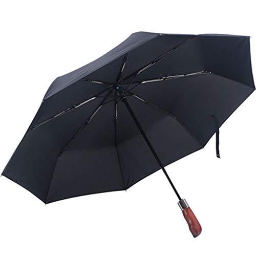 YFGRD Nur Starke Rahmenschirm, Himmelbett, Stahl Premium Fiberglas, Auto öffnen und schließen, Reisen Taschenschirm 300T mit besten Stoffen,Schwarz