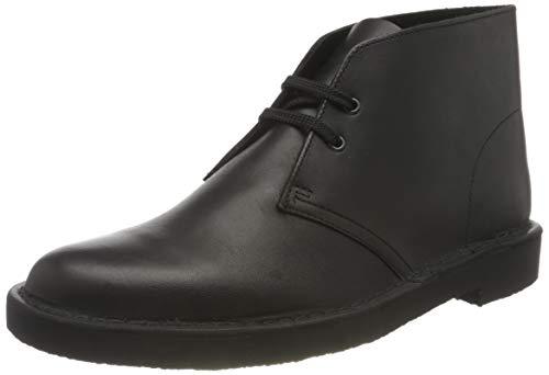 Clarks Men's Desert Boot Bushacre 3 Ankle, Black Polished Leather, 10 UK