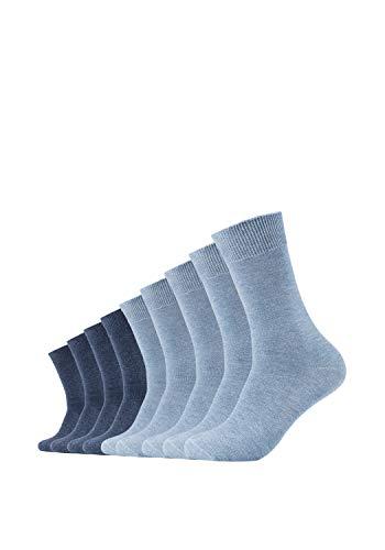 Camano Herren 9106 Socken, Blau (Stone Mel (99) + Jeansblau 0099), 39/42 (9er Pack)