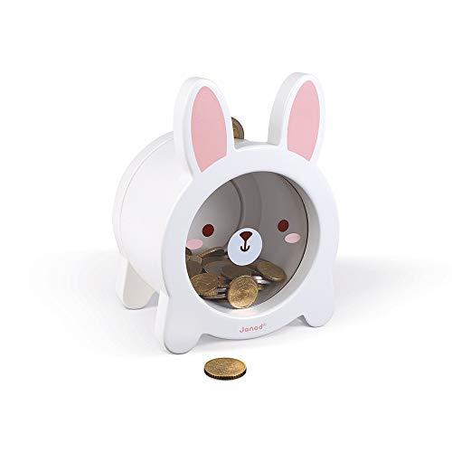 Janod White Bunny Rabbit Money Saving Magnetic Piggy STEM Bank for Boys or Girls for 3 Years+, J04654