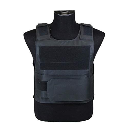 ZZYLHS Guardia De Seguridad Antipuñaladas Chaleco Táctico con Dos Placa De Espuma Militares En Miniatura Chalecos De Caza Correas De Hombro Ajustables (Color : Black, Size : One Size)