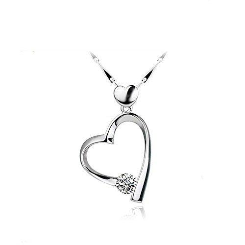 Miya Lusso in argento Sterling 925doppio cuore ciondolo a forma di cuore con lucido collana di cristallo, 45cm Argento