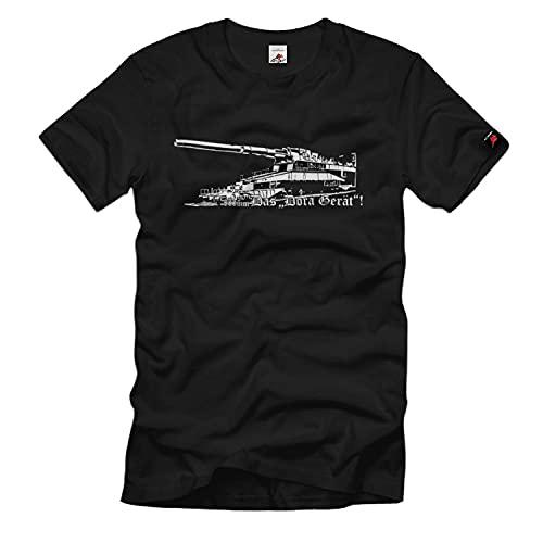 Copytec Eisenbahngeschütz Dora Gerät 80cm Kaliber Geschütz Kanone Ostfront Tshirt #38141, Größe:L, Farbe:Schwarz