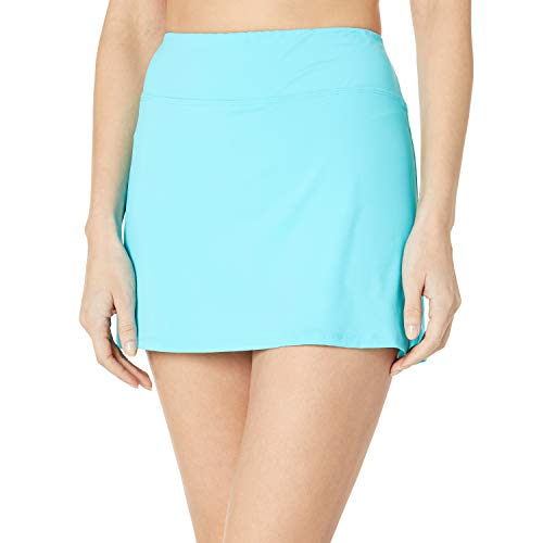 24th & Ocean Women's Plus Size Skirted Built-in Short Skort Bikini Swimsuit Bottom, Lagoon, 16W