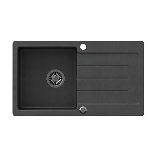 VBChome Spüle Schwarz 77 x 44 cm Granit Einzelbecken Einbauspüle gesprenkelt reversibel Verbundspüle + Siphon Waschbecken