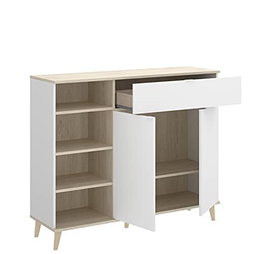 HABITMOBEL Mueble Zapatero Auxiliar Cualquier rincón con un Compartimento Cerrado, un cajón y un Hueco con estantes