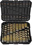 ENERTWIST Titanium Drill Bit Kit Set for Metal and Wood 230-Piece - Coated HSS Conventional 118 Deg Tip from 3/64inch up to 1/2 Inch, ET-DBA-230A