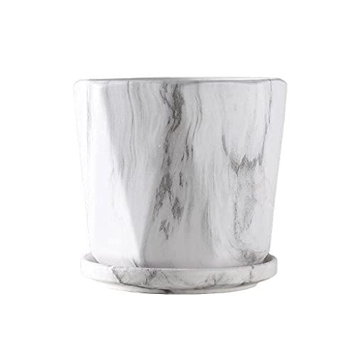 Pkfinrd Maceta de cerámica moderna para decoración del hogar, restaurante, oficina, maceta con bandeja pequeña de 5.11/6.29/7.67 pulgadas (color: F)