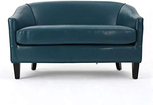 Best Christopher Knight Home Justine Leather Loveseat, Teal
