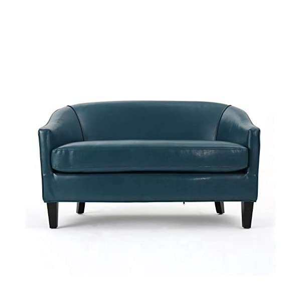 Christopher Knight Home Justine Leather Loveseat, Teal