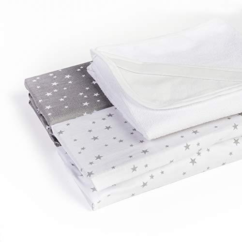 Lot de 2 draps-housse+1 alèse 50x83 imperméable OEKO TEX 100% coton compatible berceau cododo Next2me, Lullago, Safety first (Etoiles gris/blanc)