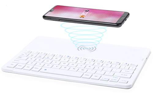 MKTOSASA - Teclado Inalámbrico Bluetooth Portátil con Cargador Inalámbrico y Soporte para Smartphones/Tabletas. Compatible con iOS, Android y Windows XP. Recargable Mediante Cable USB - 24x0.6x17