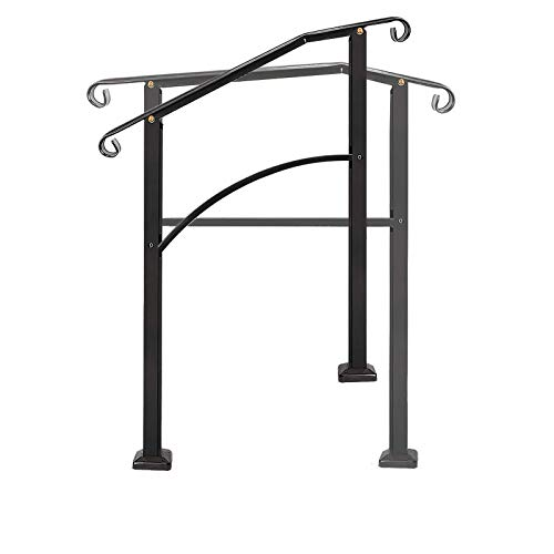 Handrails for Outdoor Steps, Black Handrail Arch,2 or 3 Steps Stair Handrail,Adjustable Outdoor Stair Railing with Installation Kit Hand Rails for Outdoor Steps