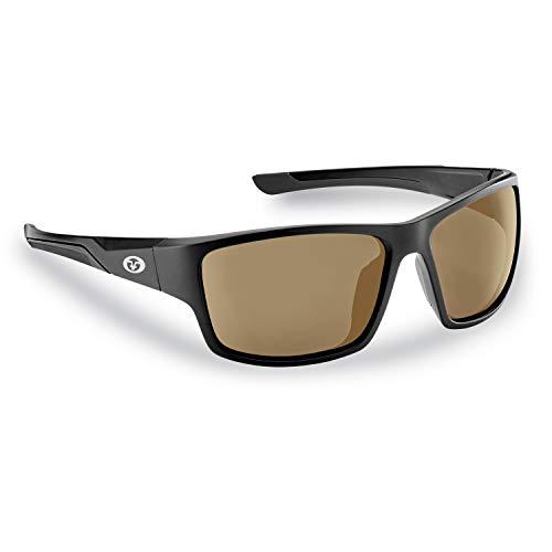 Flying Fisherman 7712BA Sand Bank Polarized Sunglasses, Matte Black Frame, Amber Lens