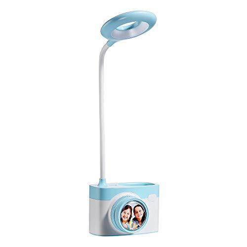 Lámpara de mesa con cámara LED con portalápices puerto de expansión USB carga lámpara de escritorio con atenuación sin electrodos dormitorio junto a la cama noche azul claro