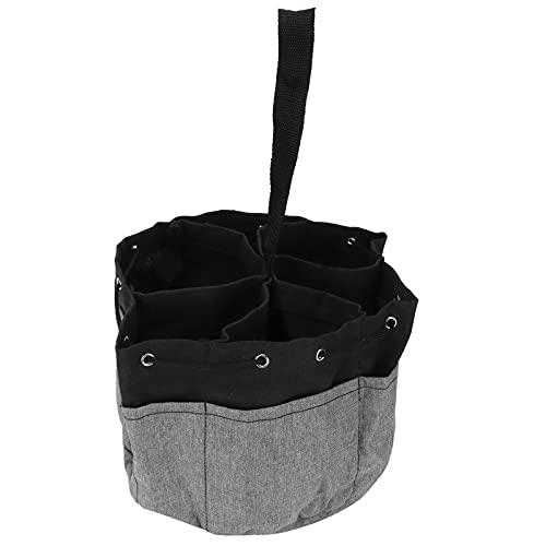 Organizador de herramientas, bolsa de almacenamiento de herramientas multiusos con cordón para trabajos de jardinería(Pelea negra + gris)