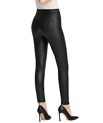 Everbellus Mujer Sexy Negro Leggins Cuero con Bolsillo Skinny Elástico Pantalón Medio