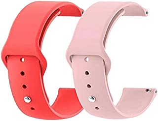 LBCS Watch Bands - Soft Silicone Quick Release Straps - Choose Color & Width - 18mm, 20mm, 22mm, 24mm - 2 Pack Silky Soft Rubber Watch Bands Waterproof for Men and Women Sport (Crimson Red & Girly pink, 22mm)