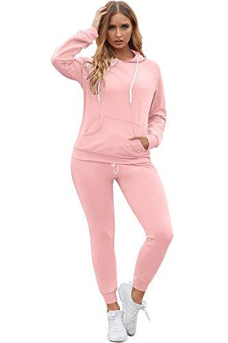 Fixmatti Women Long Sleeve Pullover Sweatshirts Two Piece Jogging Pant Sets Pink M
