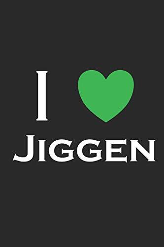 I Jiggen: Notizbuch A5 I 120 Seiten I Creme Farbig I Kariert I Kladde für Angler und Sportfischer I I Love Jiggen