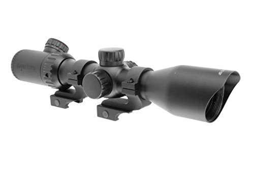Monstrum Tactical 3-12x42 AO Rifle Scope with Illuminated Mil-Dot Reticle and Offset Reversible Scope Rings (Black/Offset Rings)
