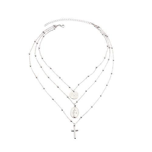 Halskette mit langen Perlen, mehrschichtige Halskette, religiöser Schmuck für Frauen, Anhänger christliches Kreuz