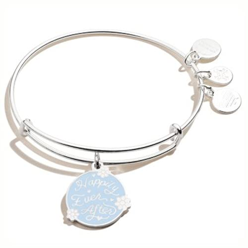 Alex and Ani Bridal Expandable Bangle for Women, Happily Ever After Charm, Shiny Silver Finish, 2 to 3.5 in