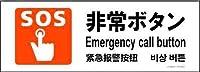 標識スクエア 「 非常ボタン 」 ヨコ・ミニ【プレート 看板】 140x50㎜ COMNIS 5枚組