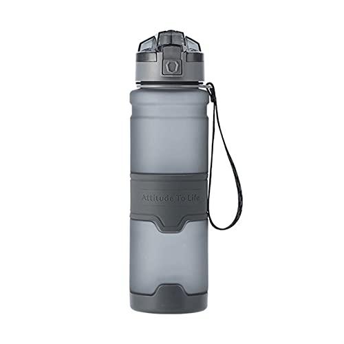 LDH Botella Agua, Taza de Agua Deportiva A Prueba de Fugas Portátiles, Tapa de La Taza de Rebote de 500/700 / 1000ml, con Manga de Silicona Antideslizante (Color : Grey, Size : 1000ml)