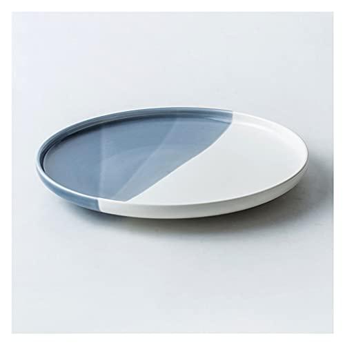 Vajilla Completa Platos de cena Cermic Placa de porcelana Platos redondos para la ensalada de carne de pasta. Cena de cena family Restaurante Sirviendo platos (10 pulgadas, negro) Vajilla