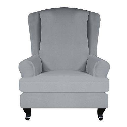 JTWEB Ohrensessel Bezug,Sesselbezug Sessel-Überwürfe Sesselhusse Elastisch Stretch Husse für Ohrensessel (Hellgrau)