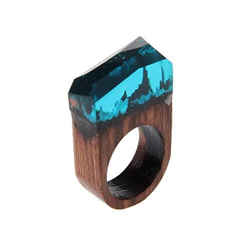 N-K PULABO Anillo de resina de madera hecho a mano con paisaje de bosque secreto paisaje interior joyería para hombres y mujeres, cómodo y ambientalmente a la moda