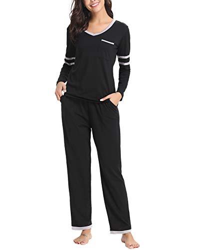 Aiboria Ensemble Pyjama Femmes Coton Manche Longue Chaud Col en V Vêtements de Nuit Pyjama Top et Pantalon Vêtement, Noir, XL