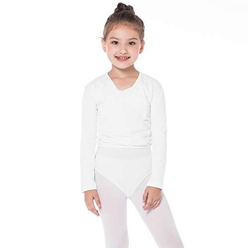 Bezioner Kinder Ballett Wickeljacke Gymnastik Tanz Ballettjacke Lange Ärmel für Mädchen Damen Weiß L