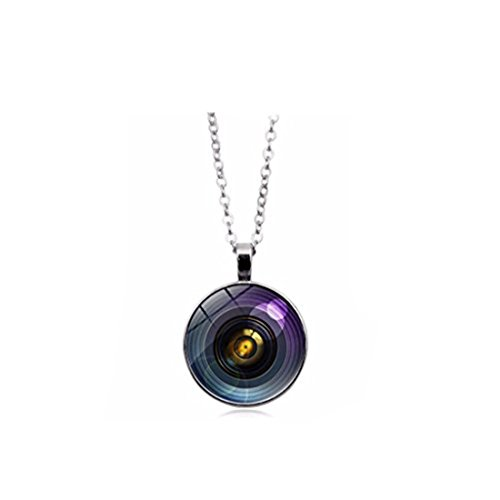 GYKMDF vintage lente de cámara colgante collar cúpula de cristal redondo collares regalo para fotógrafo joyería (plata)