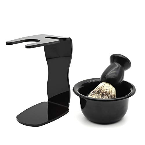 Set di rasatura da uomo, supporto universale in, con spazzola per capelli di tasso e ciotola per rasatura, per rasoi manuali, lame, pennello da barba, ciotola da barba (nero)