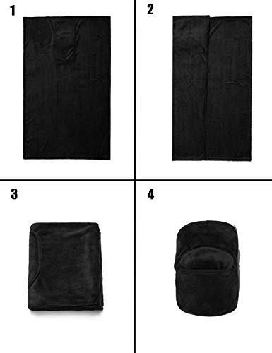 LEISIME Reisedecke 4-in-1 – leicht, warm und tragbar Die neuesten kleinen kompakten Flugzeugdecken und Kissen Set aus warmem Plüsch, ideal für Flugzeug, Auto, Zug, Reisen (schwarz)