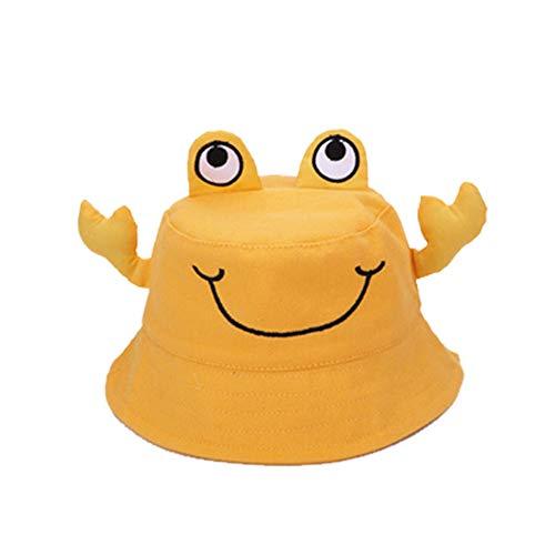 Vi.yo. Chapeau de Soleil en Coton pour bébé Baby Frog Design Toddler Enfants Chapeau de Seau en été pour garçons de Bande dessinée, Chapeau de Plage pour Filles (Jaune)