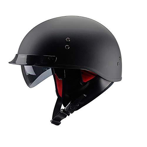QXFJ Jethelm Helm Jethelm Motorradhelm Roller-Helm Verstecktes Endoskop Leicht Atmungsaktiv WaschbäR Herausnehmbares Futter DOT-Zertifiziert Tragbarer Helm Unisex