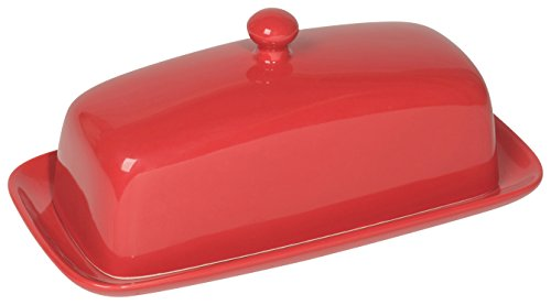 red glass butter dish - 3