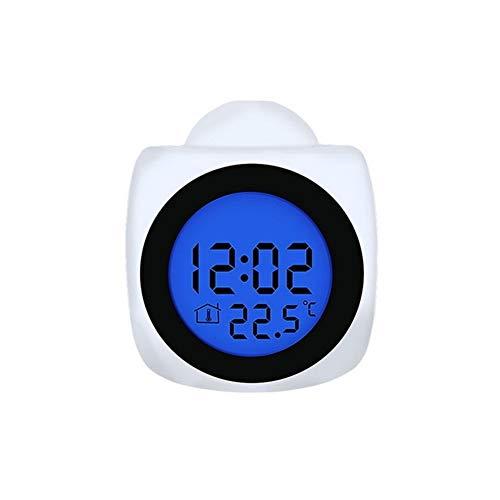 Erinnern Sie den Alarm rechtzeitig, um Ihre Reise zu planen Projektions-Multifunktions Projektions-Wecker-Digital-LCD-Display Stimme Intercom Snooze Temperatur LED Wand- Decken Clock ( Color : A )