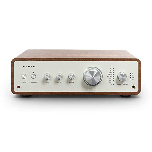 Numan Drive Amplificador estéreo Digital - Amplificador HiFi, Retro, 2 x 170 W / 4 x 85 W RMS, 5 x Line In, 1 x Conector Tocadiscos, 1 x Auriculares Salida, Bluetooth 5.0,Mando a Distancia,Nogal