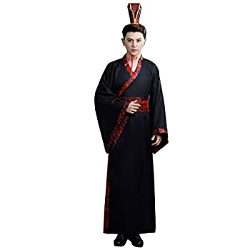 KUFEIUP Men s Ancient Chinese Traditional Hanfu Robe with Belt Cosplay Costume  A-Black