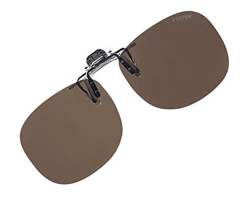 日本製 偏光 前掛け クリップ 式 サングラス メガネの上から 紫外線カット UVカット 超軽量 跳ね上げ式 男女兼用 キーパー 9311 01 D.BR