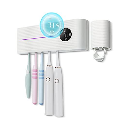 MECO ELEVERDE Portaspazzolino Elettrico UV Sterilizzatore Ricaricabile con Mini Ventilatore Funzione Asciugatura Dispenser Dentifricio Porta Spazzolino da Denti per Oral-B LED Display Termometro Bagno