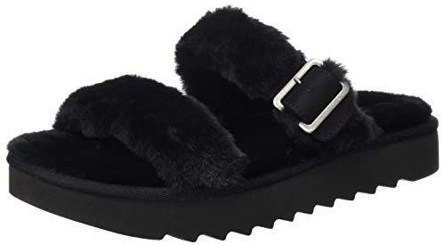 Koolaburra by UGG Women's Furr-Ah Sandal, Black, 36 EU